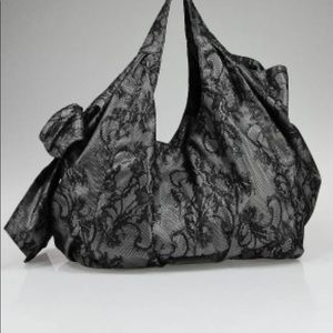 Valentino Garavani Black Lace Bow Tote Bag